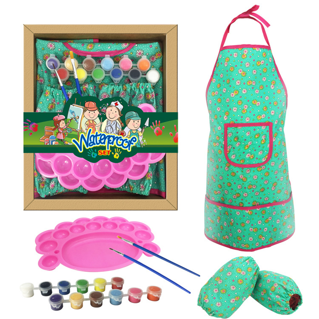 US $11.26 47% OFF Art Craft Drawing Painting & Coloring Set With Waterproof  Apron, Oversleeve, Palette, Paints Brush Kits Kids Educational Toy-in ...