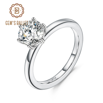 GEM'S BALLET 925 Sterling Silver 1.2Ct 7mm EF Color Moissanite Elegant Solitaire Engagement Rings For Women  Fine Jewelry