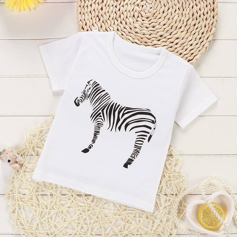 Lollas 2018 Kids Girl T-Shirt Summer Short Sleeve Cotton T-Shirts Boys Girls Cartoon Clothes Baby Girl T Shirt Toddler Tops cotton bull and letters print round neck short sleeve t shirt