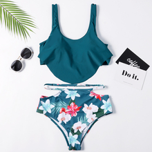 High Waist Swimsuit 2019 Sexy Bikini Women Brazilian Swimwear Floral Print Push Up Plus Size Bikini Set Swimming Suit plus floral print bikini set