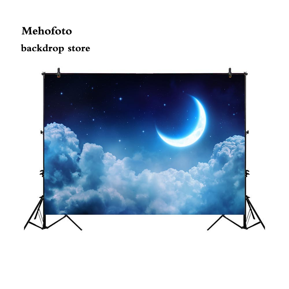 Mehofoto Space Backdrop Night Months Star for Photography Little Star Photo Booth Backgrounds Studio White Studio Starry sky 716