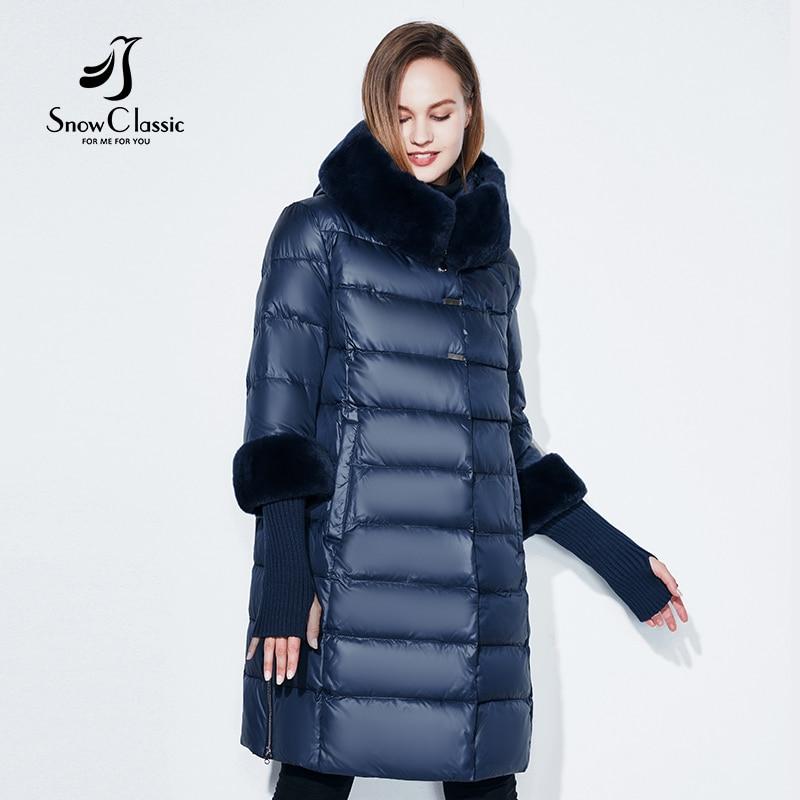 Snowclassic 2018 veste femmes camperas mujer abrigo invierno manteau femmes parc plus taille 5XL col De Fourrure chapeau poignets épais Europe