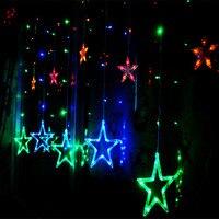 AC220V 2 M 12 PCS Estrela LED Cortina seqüência de luz 8 Modos natal Luz Da Corda de Fadas para Casa Festa de Casamento ano Novo decoração