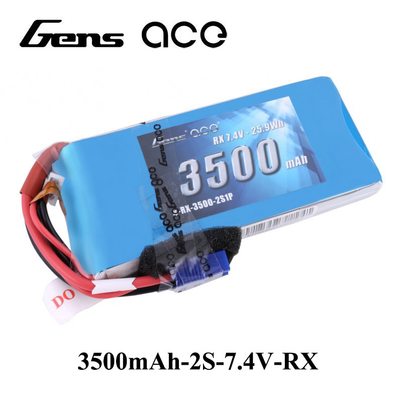Gens ace Lipo Battery 7.4V 3500mAh Lipo 2S Battery Pack with EC3 JR Plug for Futaba 18MZ 18-channel 2.4GHz Computer Radio System gens ace lipo battery 3s 5200mah lipo 11 1v battery pack 3 5mm banana connector 10c battery fpv hobbies rc models accessories