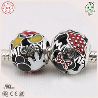 New Arrival High Quality Lovely Enamel 925 Real Silver Mickey And Minnie Charm Fitting European Famous