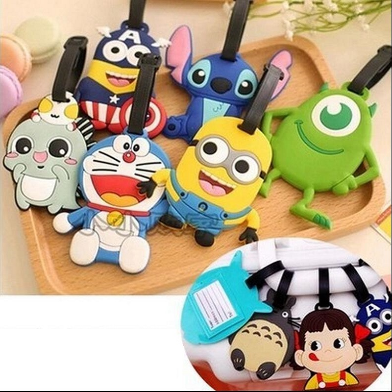 Fashion Silicon Cartoon Cute 17model Silicone Rubber Travel Holder Luggage Tag Name Holder Card Suitcase Baggage Accessorie Bag