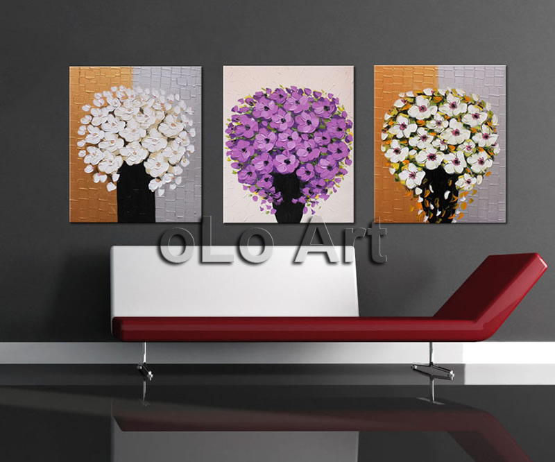 Hand painted Palette font b Knife b font purple flower Oil Painting on Canvas High Quality