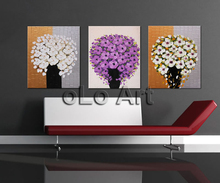 Hand-painted Palette Knife purple flower Oil Painting on Canvas/High Quality modern  thick texture paintings  Art oLo PS065