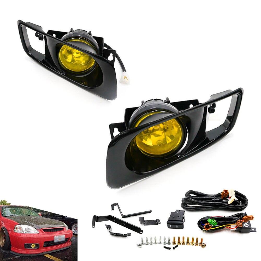 CNSPEED 2015 New Yellow /Clear Fog lamp Halogen fit 99-00 FOR HONDA CIVIC 2/3/4 dr EK EM JDM Kit EX DX LX SI SiR HB HX XS100479