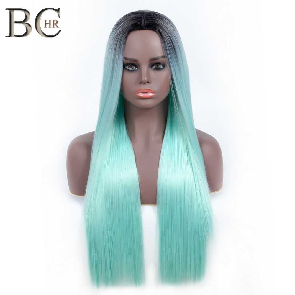 BCHR Long Straight Ombre Wig Dark Roots Synthetic Wigs Green Red Color Heat Resistant Hair for Women Free Shipping