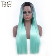 BCHR Long Straight Ombre Wig Dark Roots Synthetic Wigs Mint Green Red Color Heat Resistant Hair for Women Free Shipping
