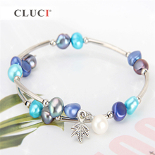 CLUCI White Freshwater Pearl Bracelets for Women  6-7 mm Beaded Charm Bracelet Femme Jewelry