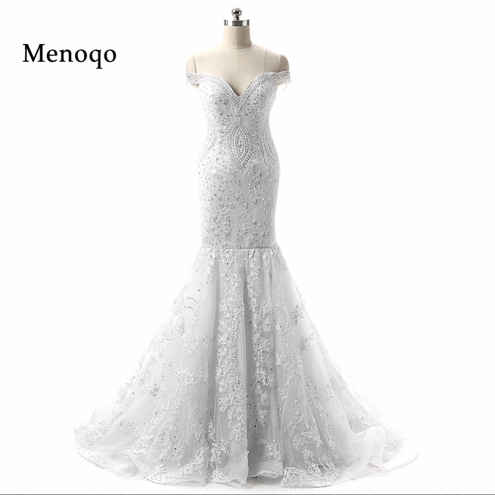 mermaid beaded lace off shoulder vestido de noiva real sample wedding dresses romantic 2017 new arrival