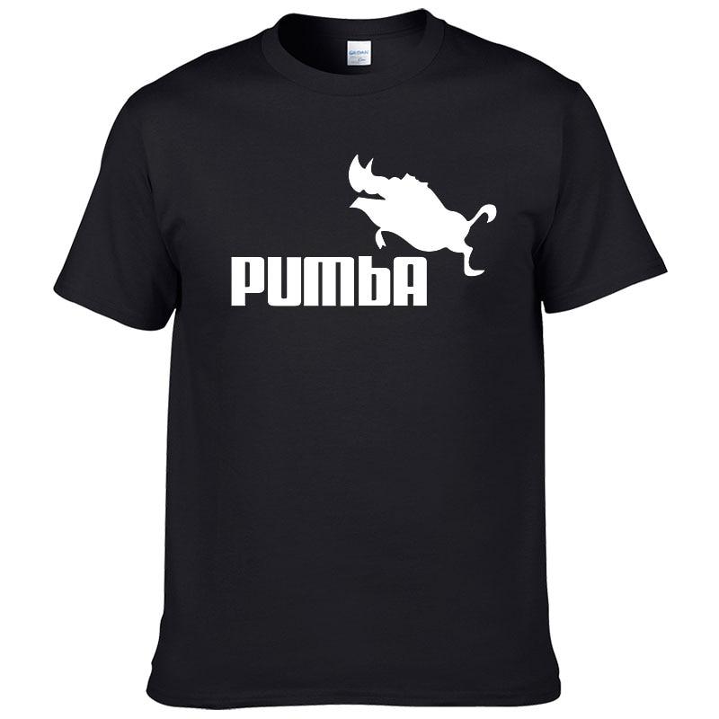 European Size Brand PUMBA Lion King T-shirt Cotton Tops Tees Men Short Sleeve Boy Casual Cool Homme Tshirt Fashion T Shirt #062
