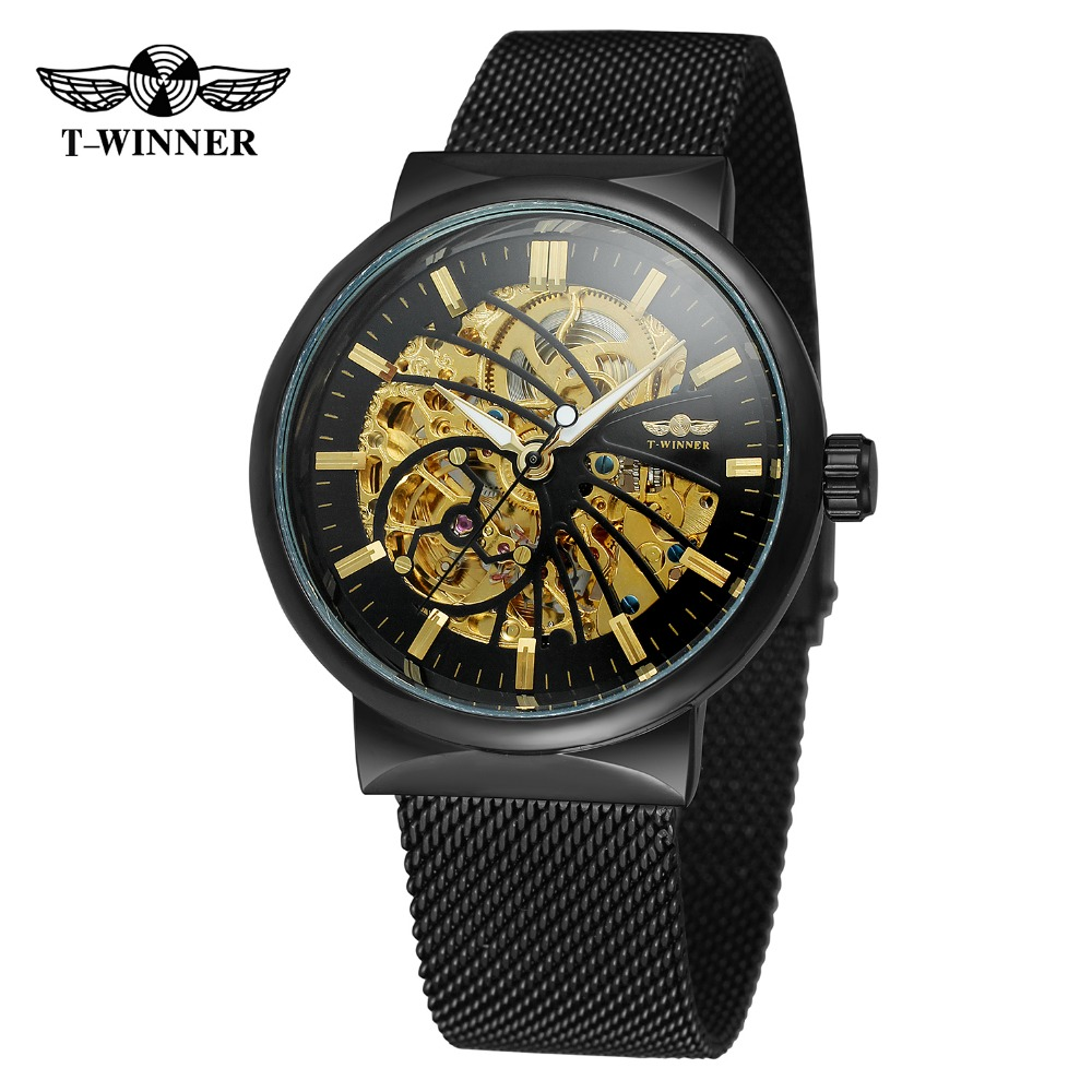 T-Winner Men's Watch Automatic Self-wind Fashion Stainless Steel Bracelet Analog Skeleton Best Price Wristwatch WRG8126M4 women favorite extravagant gold plated full steel wristwatch skeleton automatic mechanical self wind watch waterproof nw518
