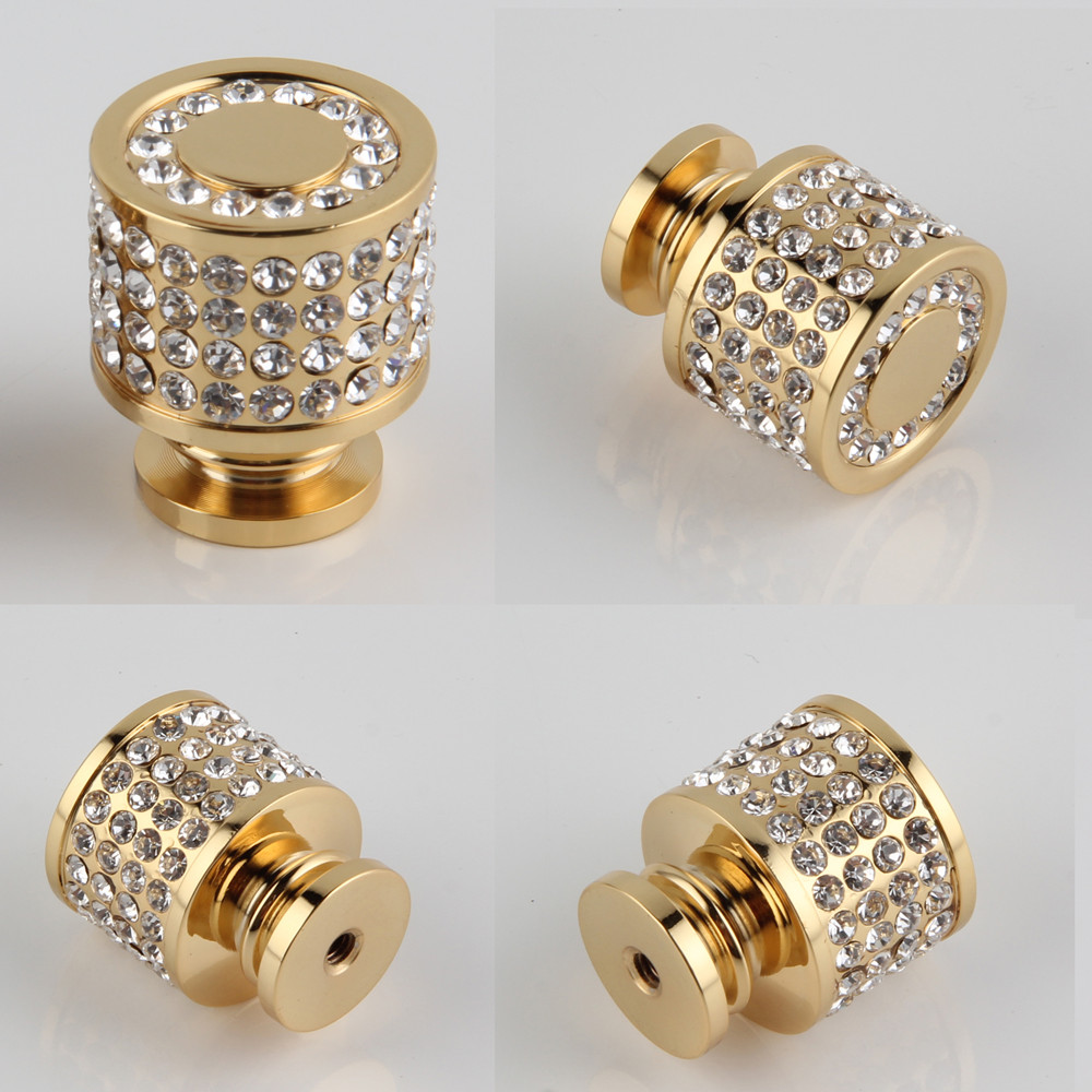 Купить с кэшбэком 24K Real Gold or Chrome Czech Crystal Drawer Cabinet Knobs Wardrobe Door Handle Furniture Knobs Pull Handles
