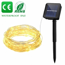 8 mode Solar Solar Power LED Holiday light 10M 20M Copper Wire LED String Outdoor lamp Decorative Garden Lawn Wedding Party Chri 10m 15m 20m copper wire solar led string light waterproof wire rope lights outdoor landscape patio garden camping party