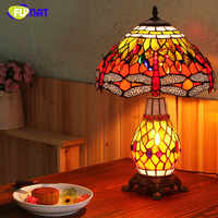 FUMAT European Style Table Lamp For Living Room Pastroal Creative Stained Glass Table Lights Dragonfly Shade Bedside Table Lamps