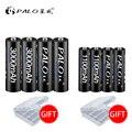 PALO 4 piezas 1,2 V de alta capacidad AA 3000 baterías + 4 piezas 1100 mah baterías AA/AAA 3A batería recargable con caja de batería de regalo