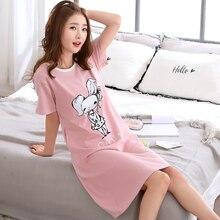 2018 New Cotton Nightgown Women Lounge Cute 100% Cotton Nightdress Cartoon Sleepwear Short Sleeve Casual Nightwear Sleepshirts