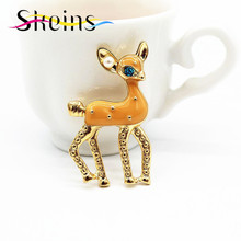Skeins Jewelry Alloy Brooch Pins Enamel Pin Yellow Fawn Luxury Brand Brooches for Women Men Lapel Pin Costumes Animal Brooch