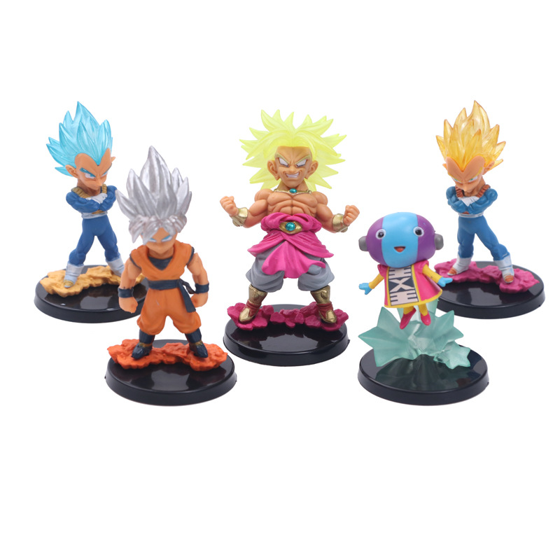 Action & Toy Figures Practical Dragon Ball Z 5 Pcs/set Anime Goku Vegeta Broly Gold Super Saiya Cute Big Head God Action Figure Dbz Pvc Model Toy 10cm