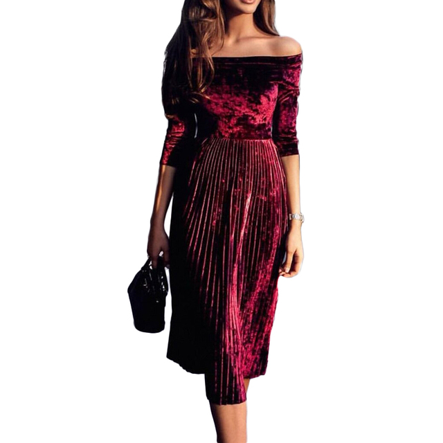 46bc30206bdd Dropshipping 2018 Women Burgundy Velvet Off Shoulder Pleated Midi Dress  Ladies Mid-Calf Party Dress