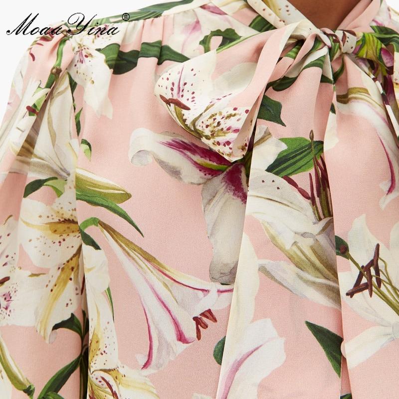 MoaaYina عالية الجودة أزياء الحرير بلوزة الصيف المرأة القوس طوق زنبق الأزهار طباعة أنيقة قميص حريري-في بلوزات وقمصان من ملابس نسائية على  مجموعة 2