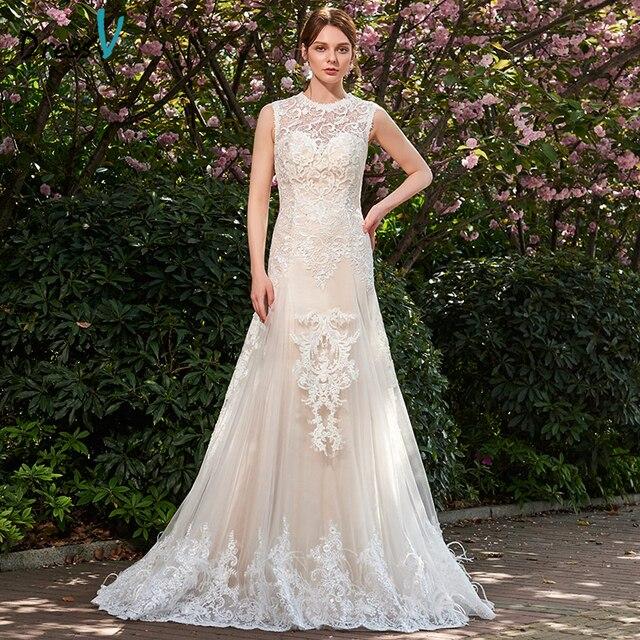 Dressv ivory long wedding dress jewel neck sleeves a line court ...