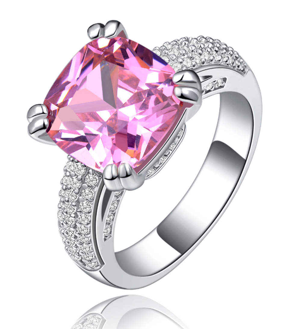 YaYI Fashion Women\'s Jewelry Ring CZ Pink Zircon Silver Color ...
