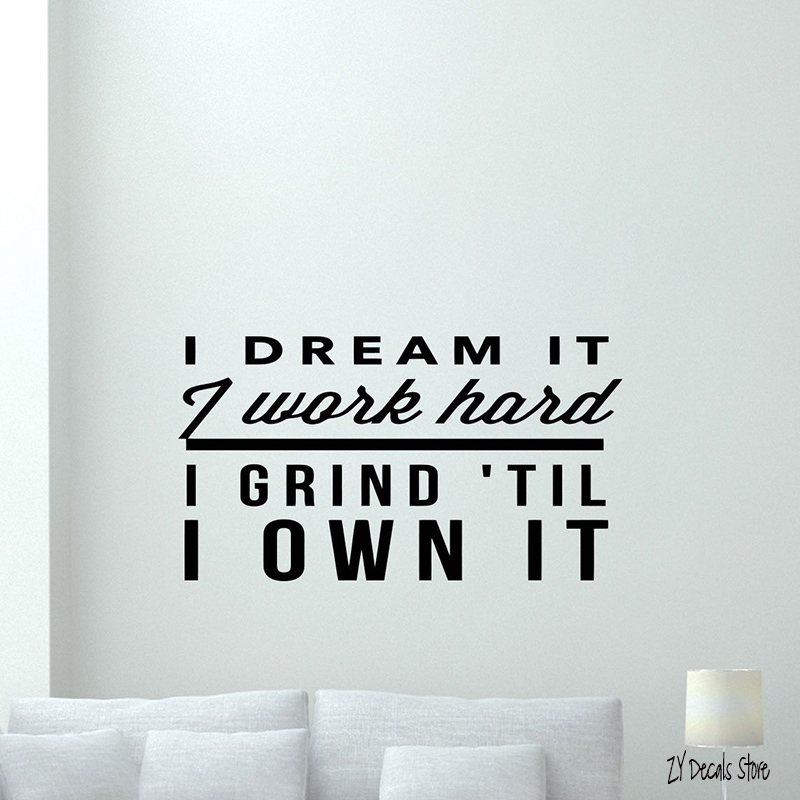 Gym Wall Decal Work Hard Fitness Motivation Vinyl Sticker Quote Decor Art Mural Removable Home Decoration L587 ...