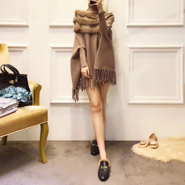 Женская накидка из натурального кроличьего меха, пуловер, пальто, Новое поступление, модная Осенняя женская накидка с высоким воротником, рукав «летучая мышь», пончо с кисточками, свитер, пальто