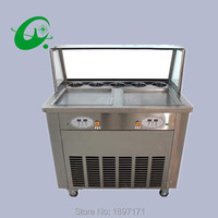 Double pan with 5 storage tank 110/220V flat pans fried ice cream machine ice roll maker
