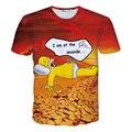 VESONAL 2017 de Verano de Manga Corta Camiseta de Las Mujeres Top Camiseta de la Historieta T Shirt 3D Hombres de la Manera de La Novedad Divertida Simpson Imprimir Camiseta VE31