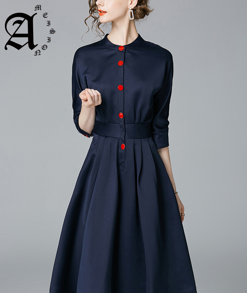 Ameision New Spring Autumn Dresses Elegant Ladies Of Work Business Women Slim 3/4 Sleeve A Line Office Wear Dress