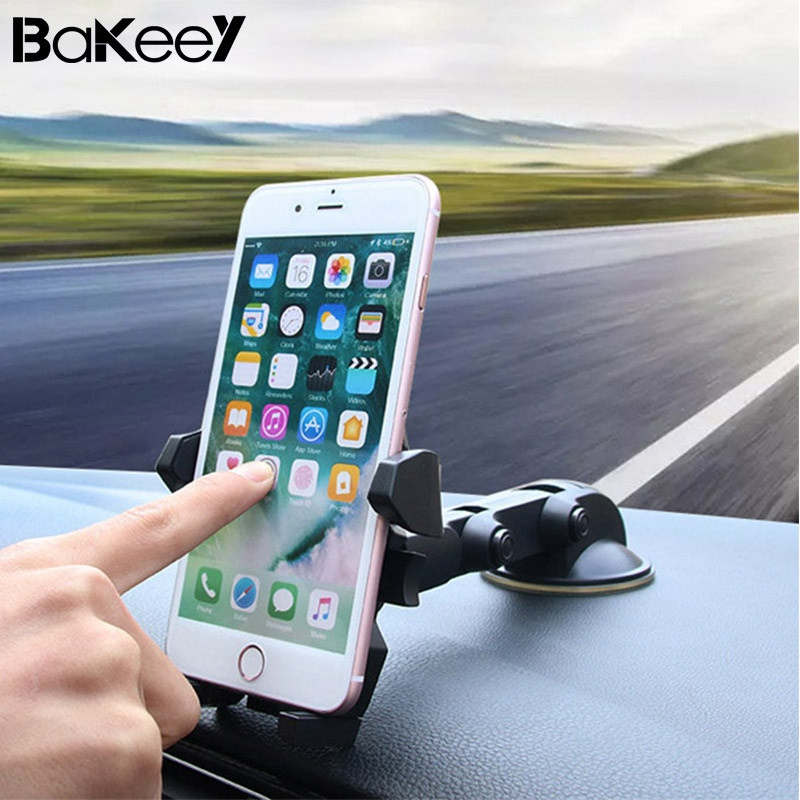 Universal Bakeey 360 Degree Rotation Suction Cup Phone Car Holder Cradle for Phone Under 6 inch Car Air Vent Stand Cradle Stands