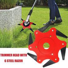 цена на Lawn Mower Trimmer Head Manganese Steel Alloy Six-Cutter Hit Grass Head Lawn Mower 65Mn Lawn Mower Garden Grass Weed Eater