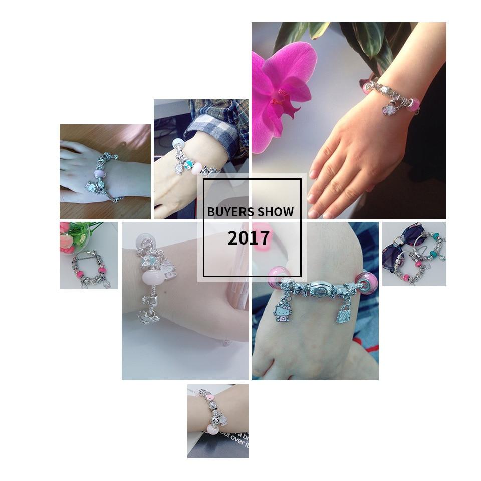 925 Silver Kitty Cat Charm narukvica Fit Izvorna narukvica Narukvica - Modni nakit - Foto 6