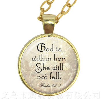 God Is Within Her, She Will Not Fall 25mm Round Glass Cabochon Pendant Necklace Best Gift For Friends Sweater chain image