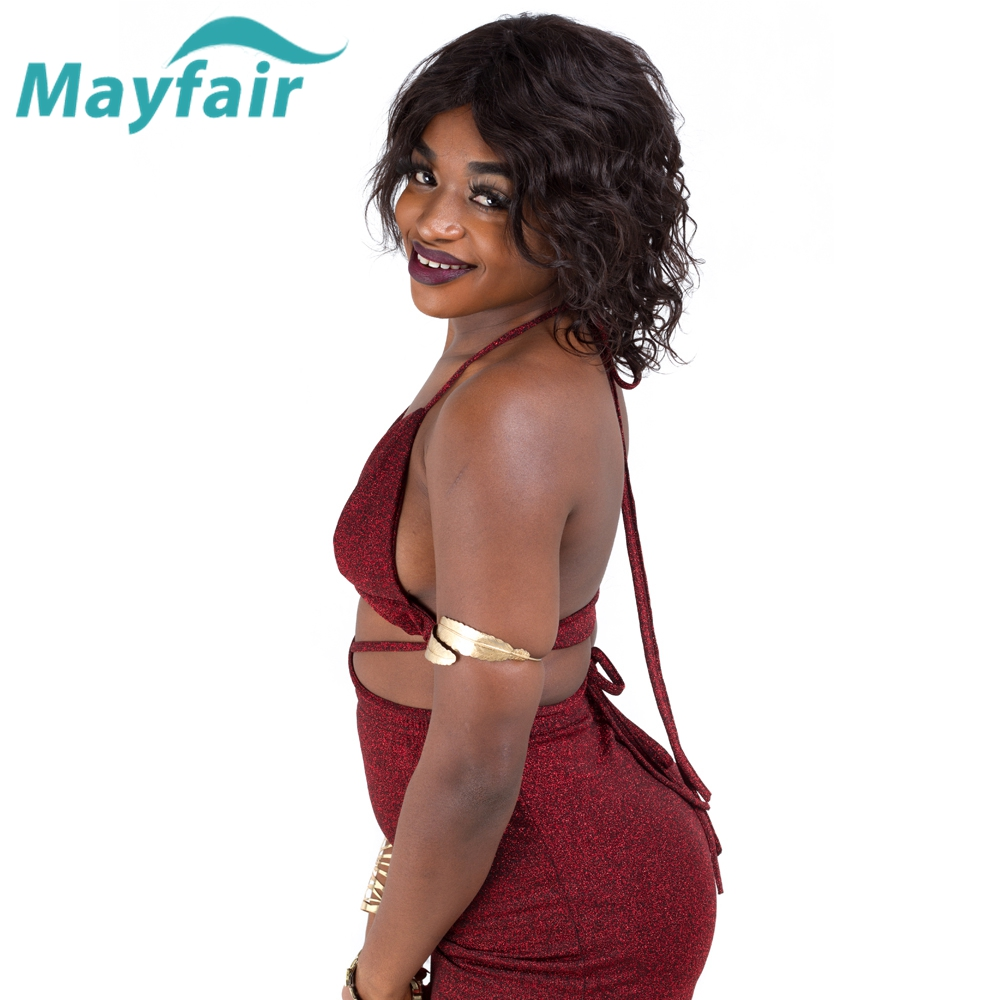 Mayfair Hair Doris Wig Brazilian Short Curly Wig 100% Human Hair Wigs for Black Women Non-Remy Hair Middle Part 10inch