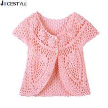 Модный вязаный свитер для маленьких девочек ручной работы вязанный цветочный перламутровая жилетка Детский кардиган повседневные топы для детей
