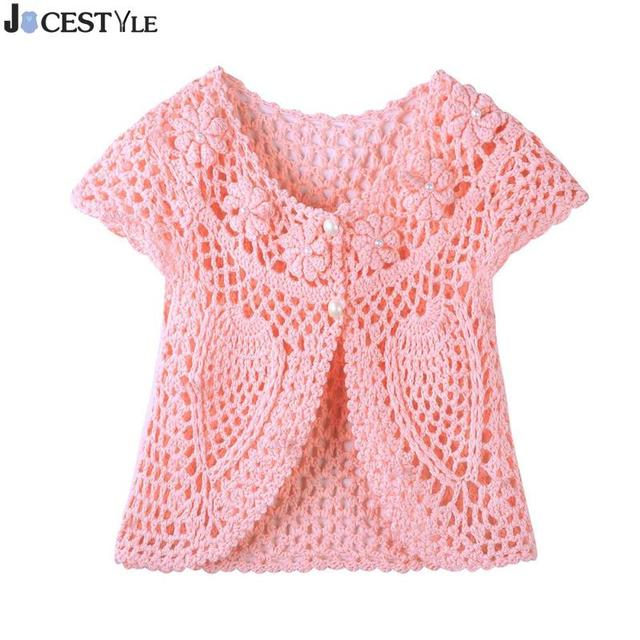 48a7290cf Fashion Baby Girls Knit Sweater Handmade Crochet Flower Pearl Vest ...