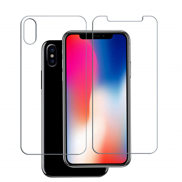 Front+Back Tempered Glass=2PCS Glass For IPhone XS MAX XR XS X 8 7 6 6S Plus 5S 5 SE 5C 4 4S Toughened Glass Protective Film