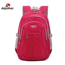 Ruipai нейлон Для женщин Школьные сумки ортопедический рюкзак для Обувь для девочек с принтом в горошек ранцы для подростков мальчиков студенческий дети Backpack