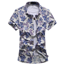 New Men Short Sleeve Dress Shirts Maple Leaf And Floral Print Big Size M-7XL Thin Slim Fit Summer Clothes Male  Casual Shirts
