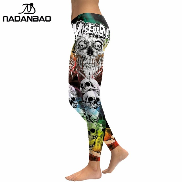NADANBAO 2019 New Arrival Skull Head Women Leggings Letter Gradient Digital Print Pants Slim Fitness Workout Woman Leggins 1