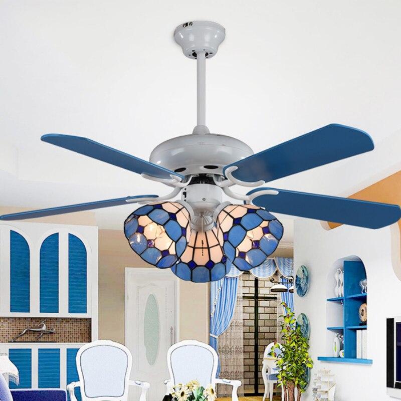 Moderne feuille de bois Led ventilateurs de plafond lampe Lustre Tiffany verre salle à manger Led ventilateur de plafond lumières Simple Led ventilateur de plafond éclairage