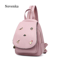 NEVENKA Women Leather Backpack Female Fashion Solid Bag Women S Shoulder Bags For Girl Casual School