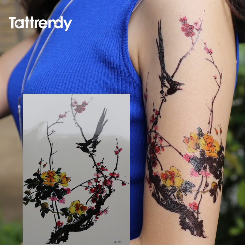 Chinese Monochromes  Wintersweet Flower Bird Tattoo Series Black Ink And Wash Waterproof Temporary Tattoos Stickers Arm Leg Body