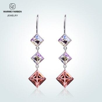 dc48646aba4b Warme Farben cuadrado pendientes de compromiso para las mujeres de cristal  de SWAROVSKI de plata 925 Bohemia fiesta joyería fina dama regalos